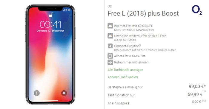 o2 Free L Tarif + iPhone X