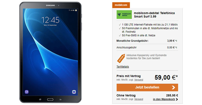 o2 Smart Surf Tarif + Samsung Galaxy Tab A 10.1