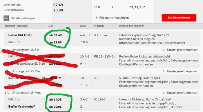 Bahn Sitzplatzreservierung Ergebnis