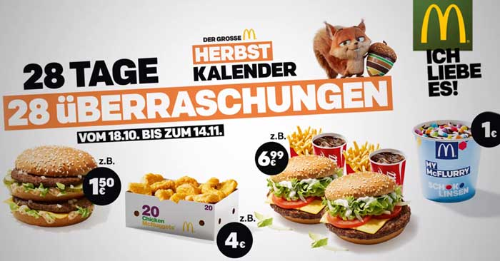 McDonald's Herbstkalender