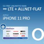 o2 Free Unlimited Max (unbegrenztes Datenvolumen) + iPhone 11 Pro + 180€ Amazon Gutschein für 59,99€/Monat