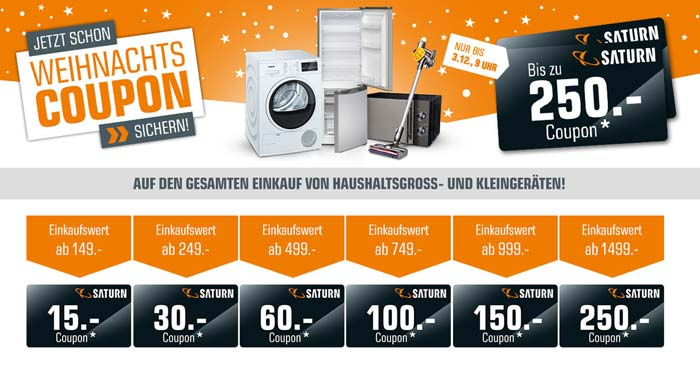 Saturn Weihnachtscoupon Aktion