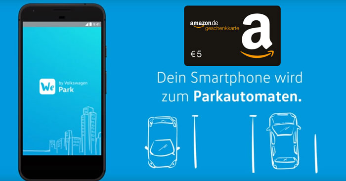 parkgeb hr per handy mit wepark app bezahlen 5 amazon gutschein. Black Bedroom Furniture Sets. Home Design Ideas