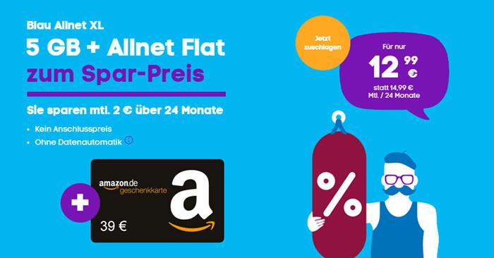 Blau Allnet XL + 39€ Amazon Gutschein