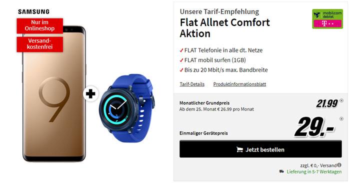 Samsung Galaxy S9 + Gear Sport + Telekom Comfort Allnet Tarif