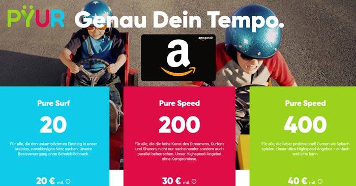 PYUR Internet + Amazon Gutschein
