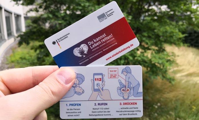 "Scheckkarte Wiederbelebung ""Du kannst Leben retten!"""