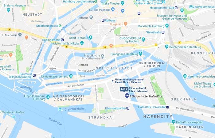 Lage 25hours Hotel Hamburg HafenCity