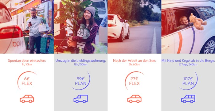Oply Carsharing Preise Beispiele
