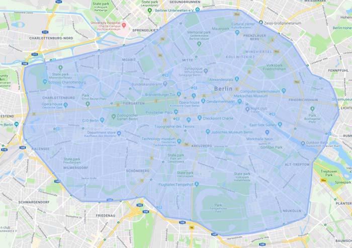 Uber Stadtgebiet Berlin