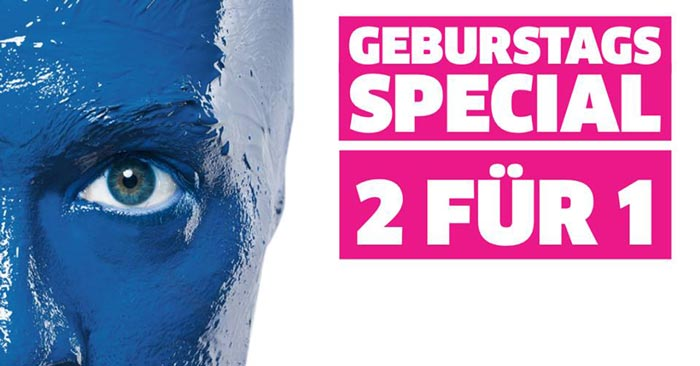 blue man group gutschein 2 f r 1 tickets f r berlin. Black Bedroom Furniture Sets. Home Design Ideas