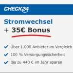 Check24 Strom-/Gas-Wechsel + 35€ Amazon Gutschein