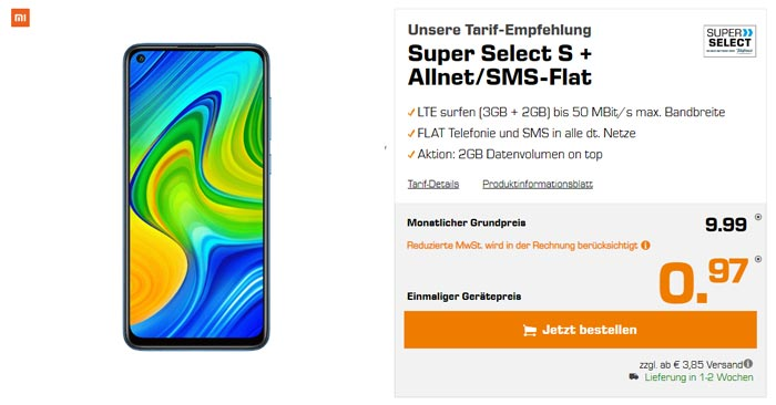 Super Select S Tarif Xiaomi Redmi Note 9