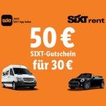 50€ Sixt Wertgutschein (3 Tage Mindestmiete) für 30€ bei LIDL
