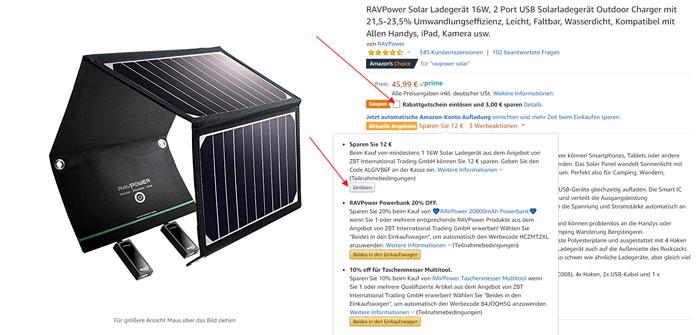 Amazon Gutscheine einlösen RAVPower Solar Ladegerät