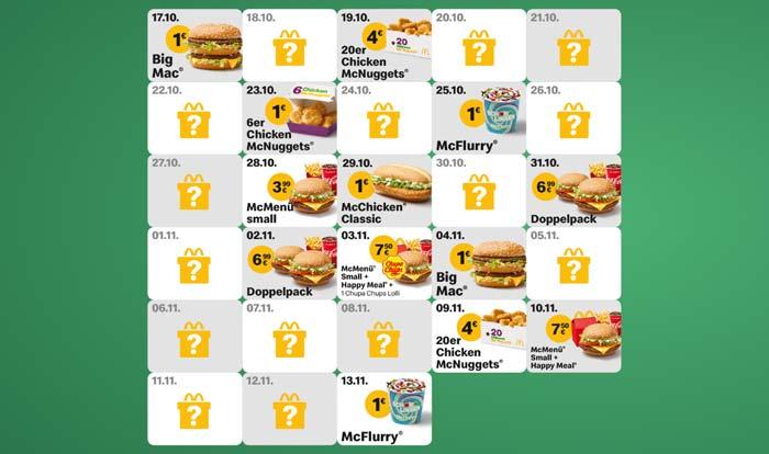 McDonald's Weihnachtskalender Übersicht