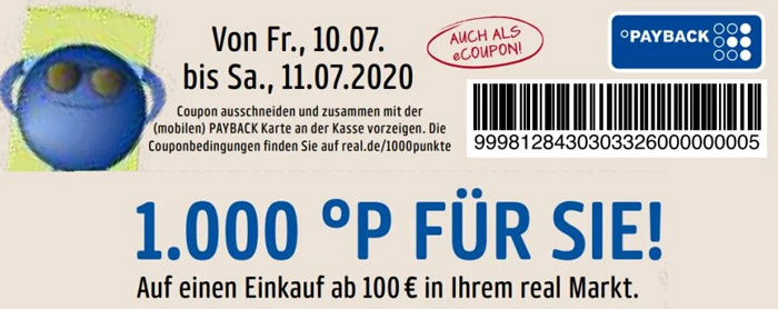 1000 Punkte Payback Gutschein Coupon real