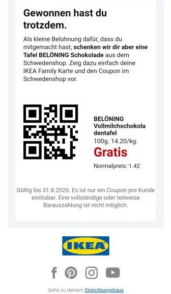 QR Code IKEA Tafel Belöning Schokolade