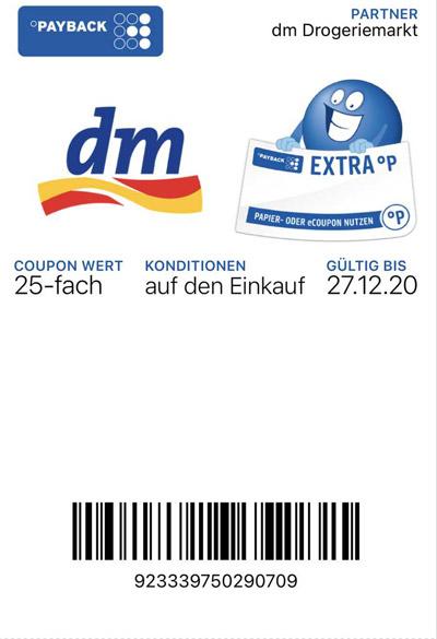 dm Payback Coupon 25-fach