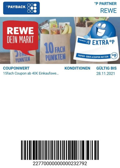 REWE 15-fach Payback Coupon