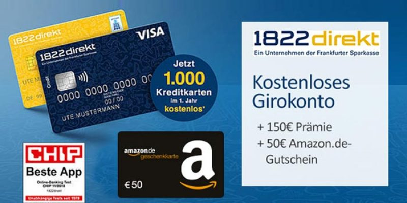 1822direkt Girokonto + 50€ Amazon Gutschein + 150€ Startguthaben