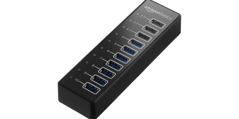 AmazonBasics USB-Hub (für USB-C 3.1) mit 10 USB-Anschlüssen für 25€