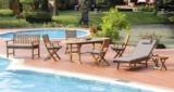 Ambia Gartenmöbel-Set (Gartentisch, Liege, Sitzbank, Stühle) für 499€