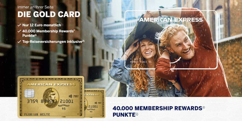 American Express Gold Kreditkarte + 40.000 Membership Rewards (z.B. 200€ Amazon Gutschein) + Reiseversicherung