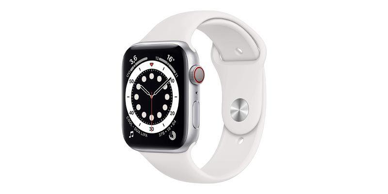 Apple Watch 6 (GPS + Cellular, 44 mm) mit Aluminiumgehäuse Silber & Sportarmband weiß für 485,10€