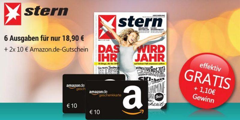 6x Ausgaben Stern für 18,90€ + 20€ Amazon Gutschein Prämie