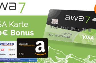 Kostenlose awa7 Kreditkarte + 50€ BestChoice-/Amazon Gutschein (ohne Umsatzbedingungen) + 50 Bäume gepflanzt