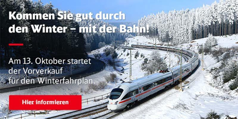 Bahn Sparpreise zu Weihnachten und Silvester ab 17,50€ ab 13. Oktober buchbar – Winterfahrplan