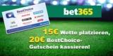 bet365 Bonus-Deal: 20€ Amazon Gutschein für 15€ Wetteinsatz