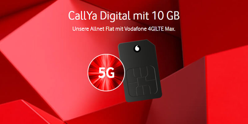 Vodafone CallYa Digital Prepaid Tarif mit 10 GB LTE für 20€/4 Wochen + 60€ Guthaben geschenkt