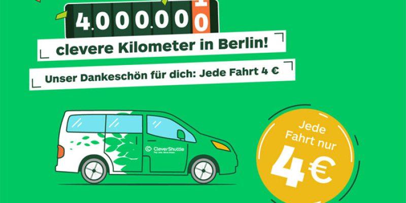 CleverShuttle Aktion: Jede Fahrt in Berlin nur 4€ [bis 09.03. um 9 Uhr]