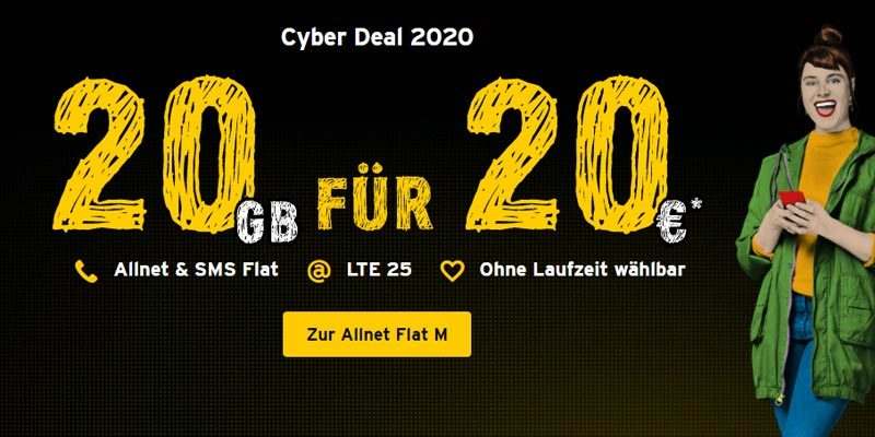 Congstar Allnet Flat M (20 GB LTE + Allnet Flat) für 20€/Monat [Cyber Deal]