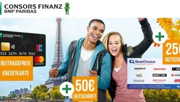 Beitragsfreie Consors Finanz Mastercard Kreditkarte + 50€ Startguthaben + 25€ BestChoice-/Amazon Gutschein