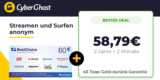 26 Monate CyberGhost VPN für 58,79€ + 60€ BestChoice/Amazon Gutschein