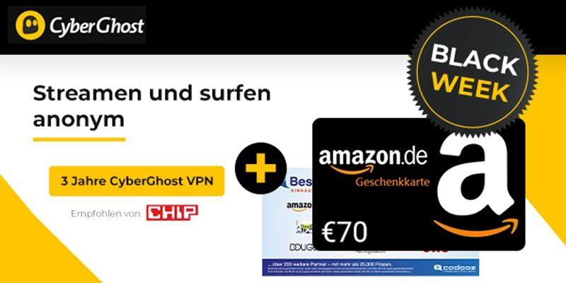 36 Monate CyberGhost VPN für 78€ + 70€ BestChoice/Amazon Gutschein