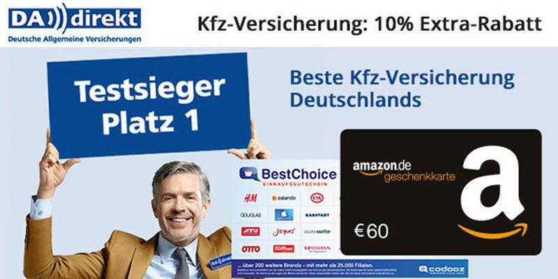 DA Direkt KFZ Versicherung + 10% Rabatt + bis zu 60€ Amazon Gutschein