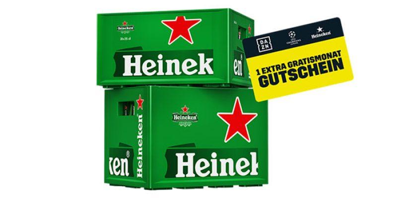 DAZN Heineken Aktion: 1 Monat DAZN kostenlos beim Kauf eines Kasten Heineken