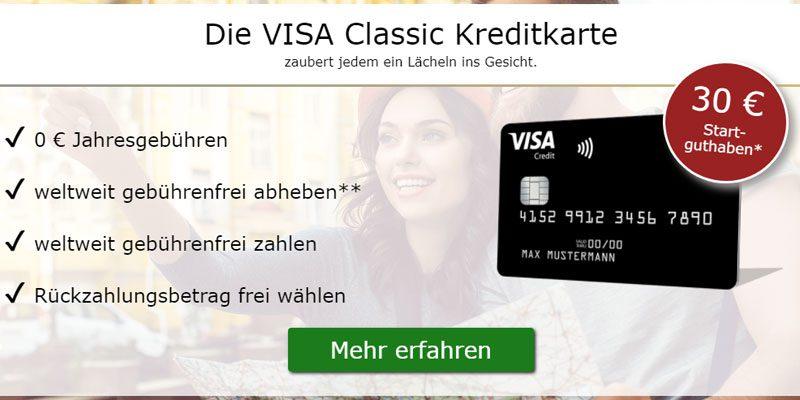 Kostenlose Deutschland Kreditkarte Classic + 30€ Startguthaben