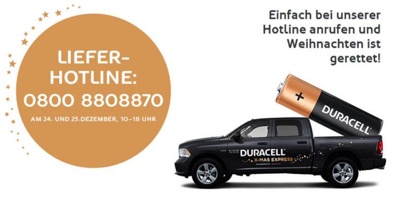 Duracell XMAS Express: Kostenlose Duracell Batterien am 24.12. & 25.12.2017 mit Lieferung in Berlin