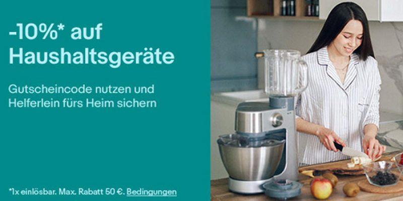 10% Gutschein auf Haushaltsgeräte (Waschmaschinen, Staubsauger, etc.) bei eBay