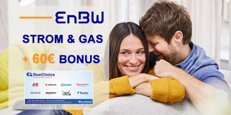 EnBW Strom & Gas Tarife + 60€ BestChoice-/Amazon Gutschein