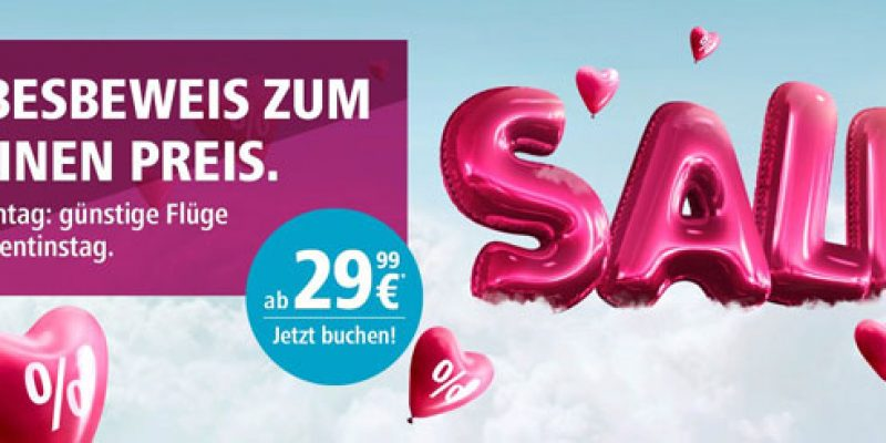 Eurowings Aktion zum Valentinstag: Tickets ab 16,99€