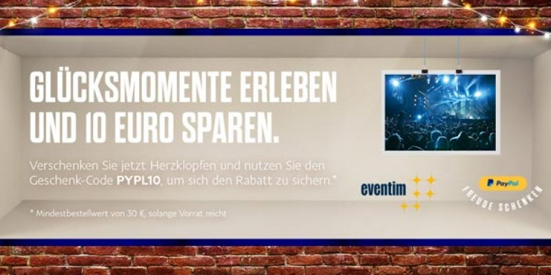 Eventim PayPal Aktion: 10€ Gutschein bei Zahlung mit PayPal