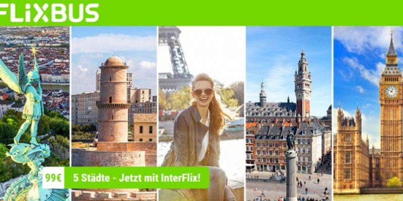 Flixbus Interflix Ticket: Mit dem Fernbus für 99€ durch Europa (5 Strecken)