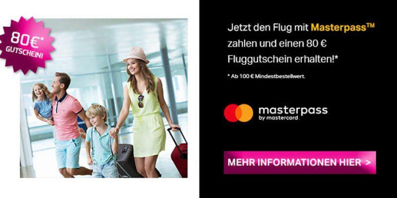 Lastminute.de: Flug mit Masterpass zahlen (MBW: 100€) & 80€ Fluggutschein erhalten