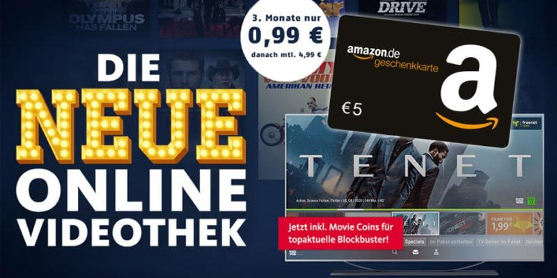 Freenet Video 3 Monate für einmalig 0,99€ testen + 5€ Amazon Gutschein